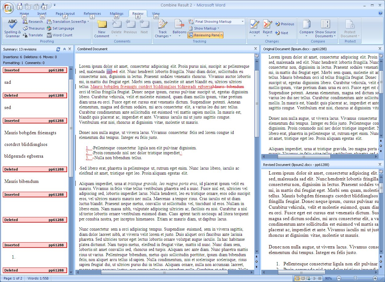 Document compare in Word 2007